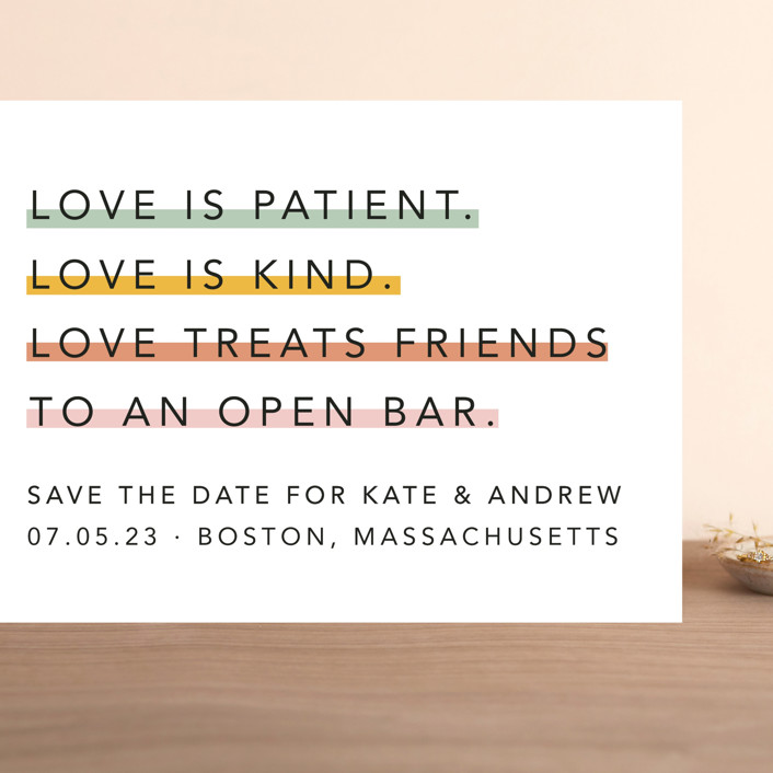 """Love is..."" - Grand Save The Date Cards in Sorbet by Hudson Meet Rose."