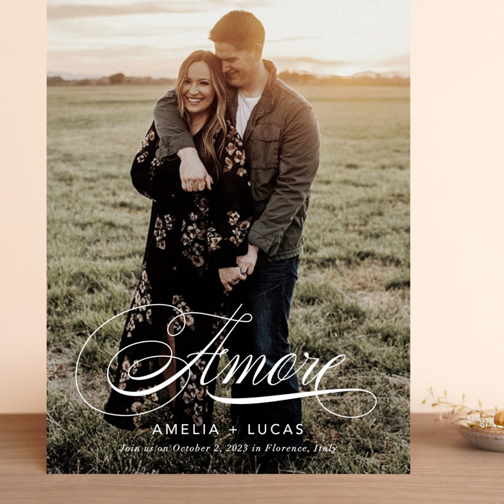 """""""giorno dell'amore"""" - Grand Save The Date Cards in Opal by Fig and Cotton."""
