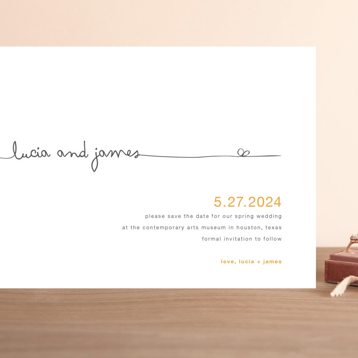 """The Happy Couple"" - Grand Save The Date Cards in Tangerine by R studio."