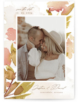 This is a yellow save the date by Chris Griffith called Impressions of Love with standard printing on recycled in grand.