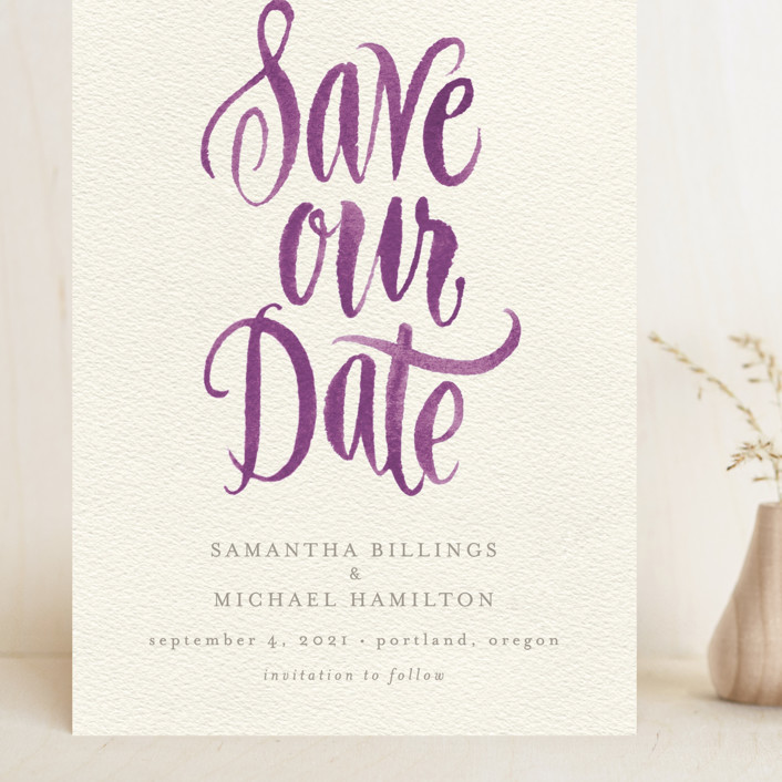 """""""Painted Simplicity"""" - Bohemian Grand Save The Date Cards in Plum by Laura Bolter Design."""