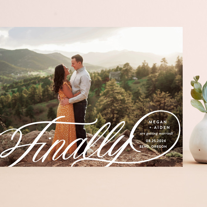 """""""Finally Getting Married"""" - Grand Save The Date Cards in Cotton by Jill Means."""