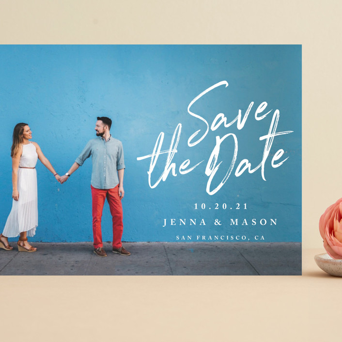 """""""Jot It Down"""" - Grand Save The Date Cards in Pearl by Owl and Toad."""