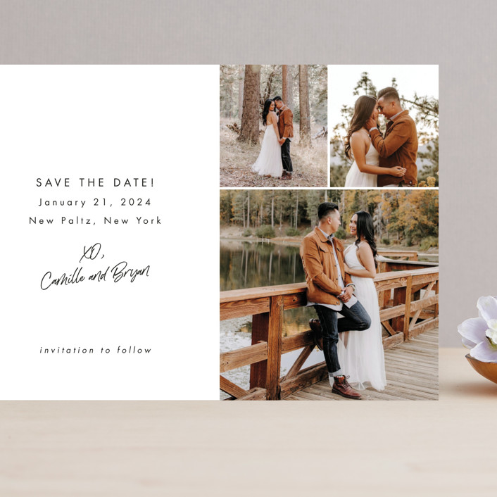 """Signed and Sealed"" - Grand Save The Date Cards in Snow by Sandra Picco Design."
