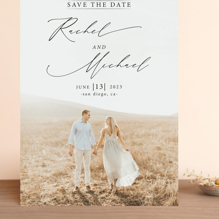 """""""And she said yes"""" - Grand Save The Date Cards in Noir by Alice Carmen."""