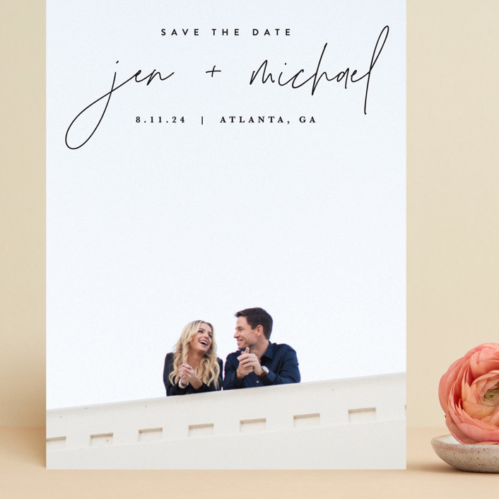"""""""Penned"""" - Grand Save The Date Cards in Noir by JoAnn Jinks."""