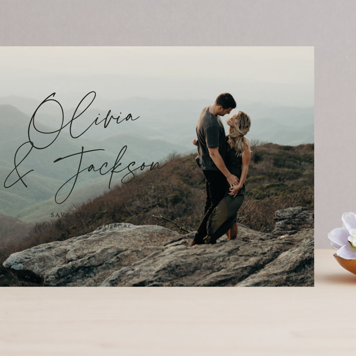 """""""Signed"""" - Grand Save The Date Cards in Onyx by Ashley Rosenbaum."""