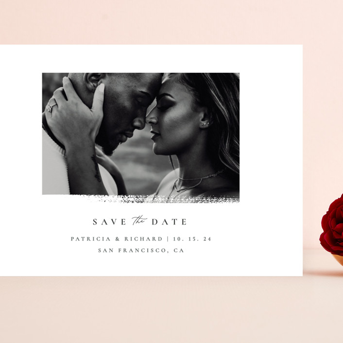 """""""minimalistic paint stroke"""" - Grand Save The Date Cards in Porcelain by Sumak Studio."""