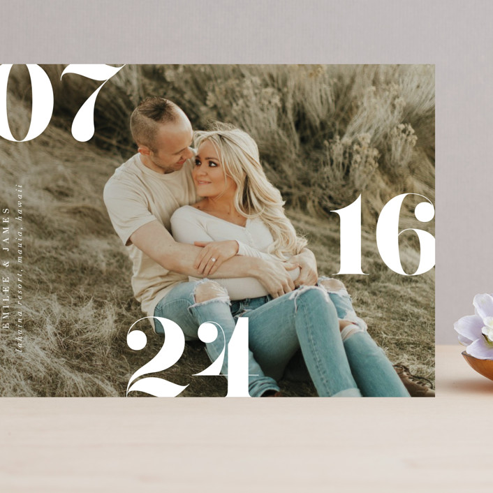 """""""Elevate"""" - Grand Save The Date Cards in Snow by Itsy Belle Studio."""