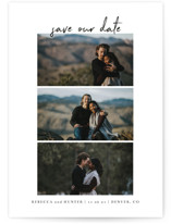 This is a black save the date by Heather Cairl called Simple Trio with standard printing on smooth signature in grand.