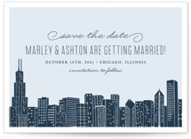 This is a blue save the date by Hooray Creative called Big City - Chicago with standard printing on signature in grand.