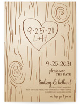 This is a brown save the date by Amanda Joy called Fall Carving with standard printing on signature in grand.