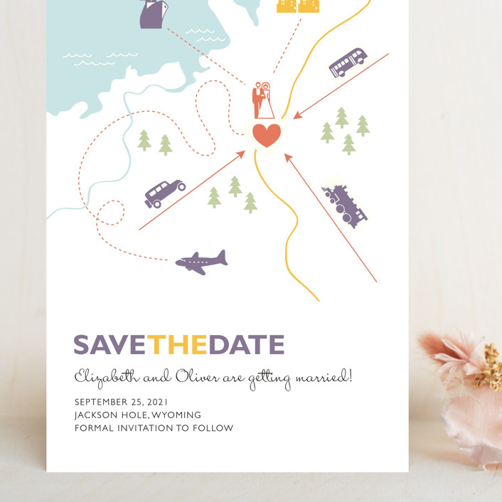"""Destination"" - Grand Save The Date Cards in Lilac Haze by leslie hamer."