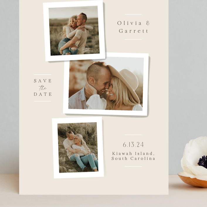 """Portraits"" - Grand Save The Date Cards in Champagne by Jennifer Wick."