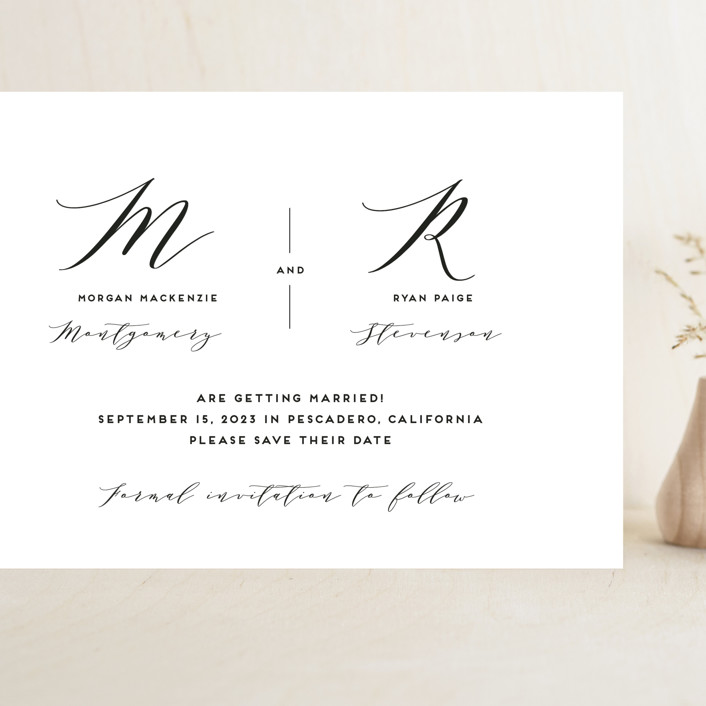 """Elegant Monogram"" - Grand Save The Date Cards in Berry by Simona Camp."