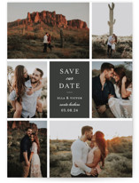 This is a grey save the date by Sara Hicks Malone called multitude with standard printing on signature in grand.