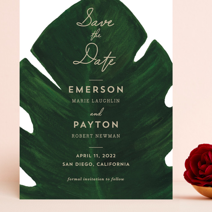 """Palm"" - Grand Save The Date Cards in Leaf by Kaydi Bishop."