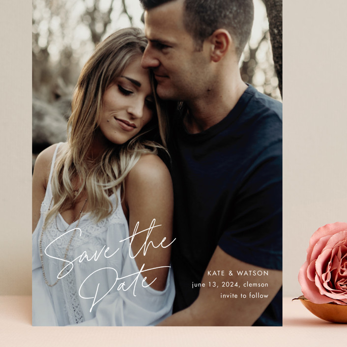 """Heartfelt"" - Grand Save The Date Cards in Canvas by Stacey Meacham."