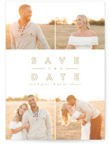 This is a yellow save the date by peony papeterie called Golden Love with standard printing on smooth signature in grand.