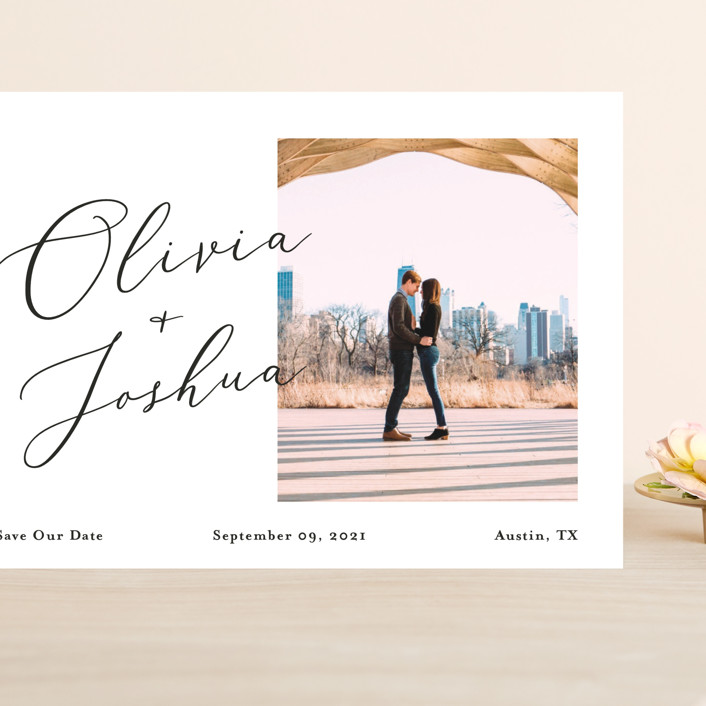 """""""Modern day names"""" - Grand Save The Date Cards in Onyx by Heather Francisco."""