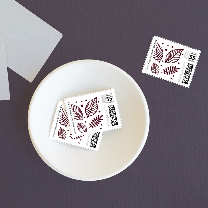 """""""Eternal Autumn"""" - Wedding Stamps in Pomegranate by Smudge Design."""