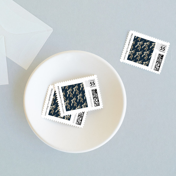 """""""Foil Foliage"""" - Rustic Wedding Stamps in Midnight Blue by Anupama."""