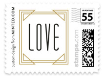 This is a white wedding stamp by Kelly Schmidt called Framed Deco Elegance with standard printing on adhesive postage paper in stamp.