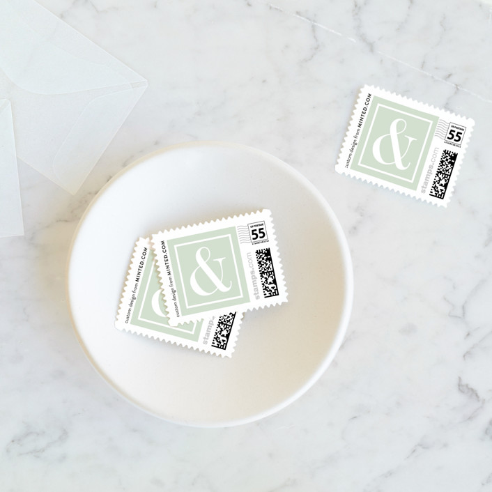 """""""Romantic Stripes"""" - Preppy Wedding Stamps in Jade by Cheer Up Press."""