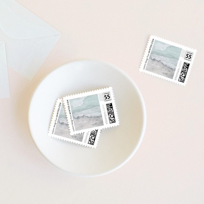 """Gilded Shore"" - Rustic, Bohemian Wedding Stamps in Aventurine by Grace Kreinbrink."
