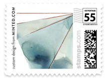 This is a blue wedding stamp by Kelly Ventura called Prism with standard printing on adhesive postage paper in stamp.