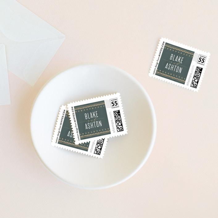 """boho glam"" - Bohemian Wedding Stamps in Ink by Carolyn Nicks."