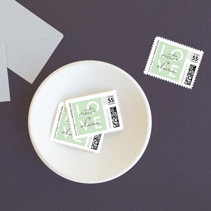 """""""Viva Las Marriage"""" - Modern Wedding Stamps in Soft Leaf by Candice Leigh."""