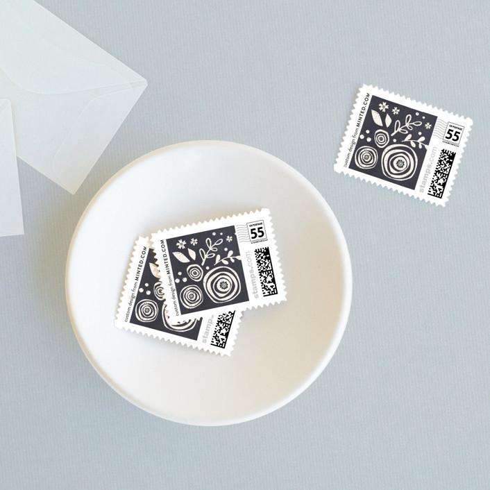 """Alabaster Florals"" - Rustic Wedding Stamps in Slate by Jennifer Wick."