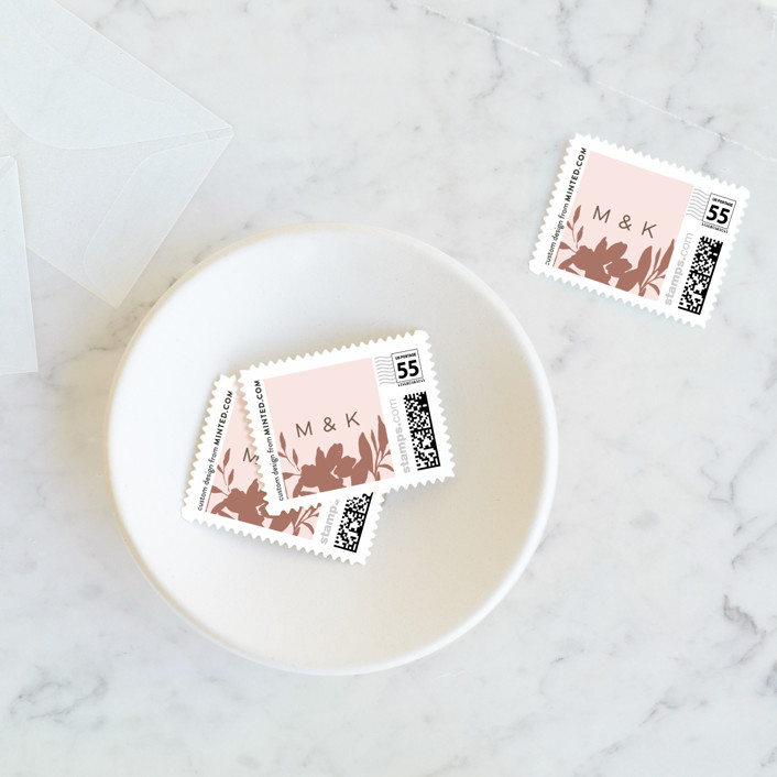 """Lavish Bouquet"" - Wedding Stamps in Blush by Everett Paper Goods."