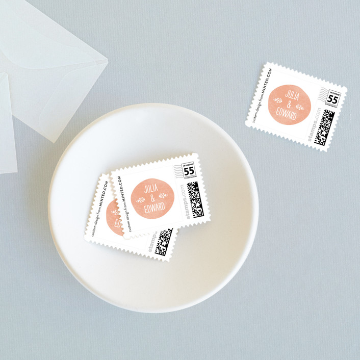 """""""Sweet Stamp"""" - Modern, Simple Wedding Stamps in Coral by Laura Hankins."""