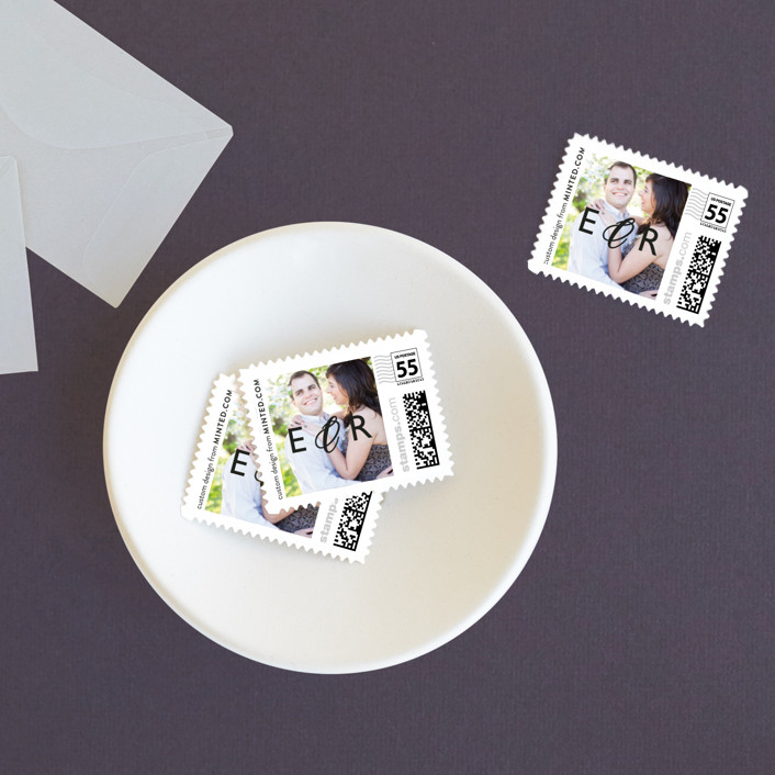 """""""Moments Captured"""" - Modern Wedding Stamps in Ivory by Carrie Eckert."""