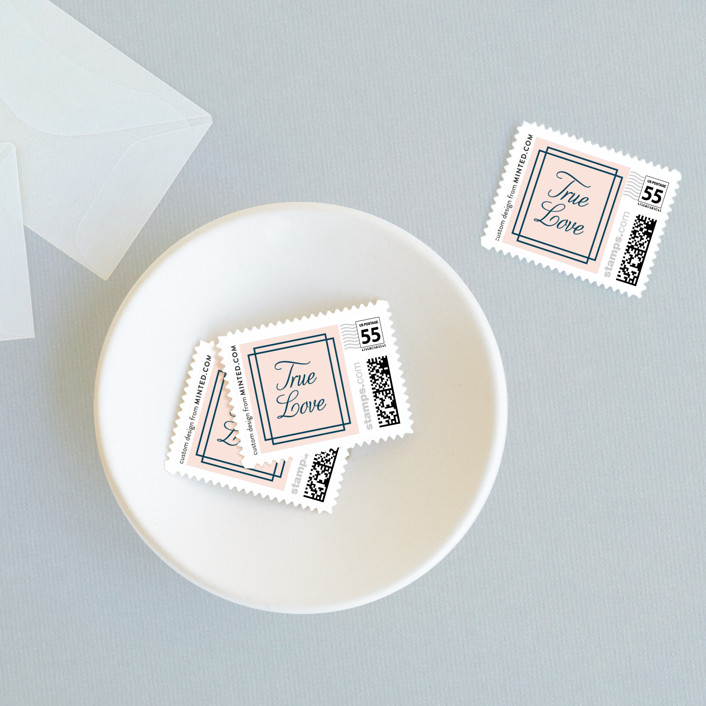 """""""Chic Gala"""" - Preppy Wedding Stamps in Cotton Candy by Kimberly FitzSimons."""