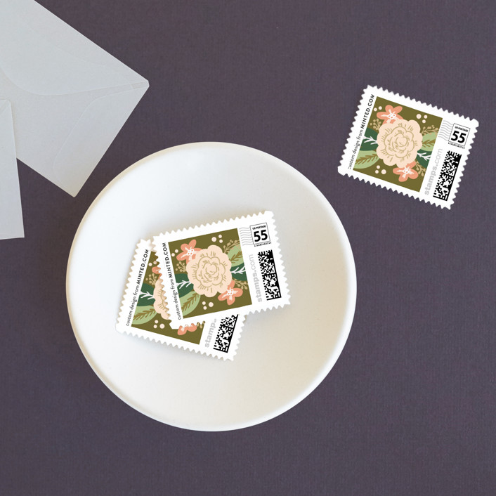 """Classic Floral"" - Wedding Stamps in Spring Blush by Alethea and Ruth."
