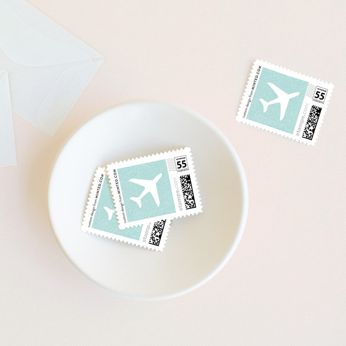 """""""Come Fly with Us"""" - Whimsical & Funny Wedding Stamps in Turquoise by Paper and Parcel."""