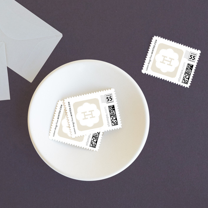 """""""Grand Lace"""" - Classical, Monogrammed Wedding Stamps in Cappucino by Carrie ONeal."""