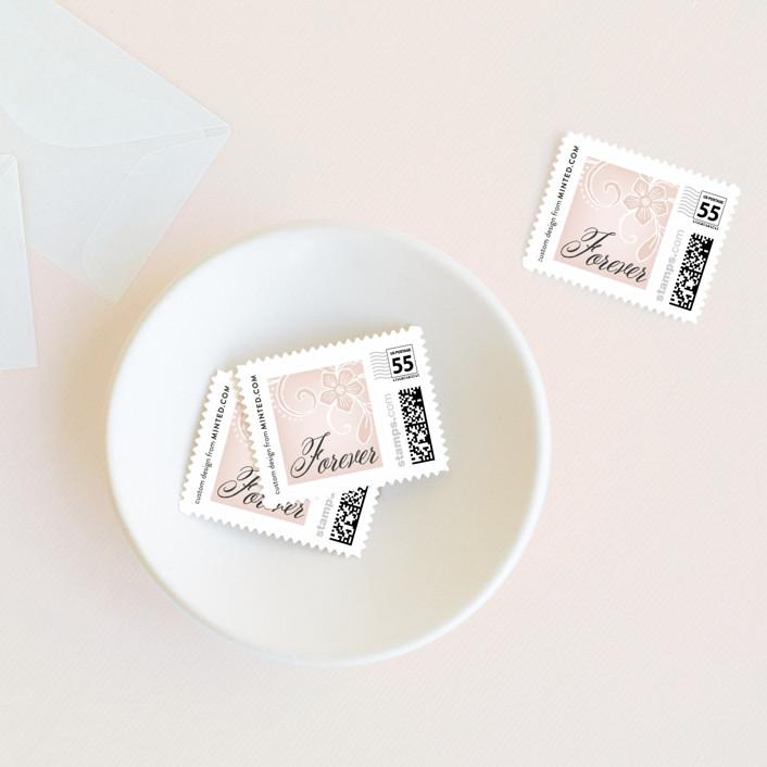 """Elegant Lace"" - Vintage Wedding Stamps in Blush by Hooray Creative."