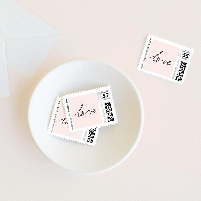 """Estate"" - Preppy Wedding Stamps in Blush by Kim Dietrich Elam."