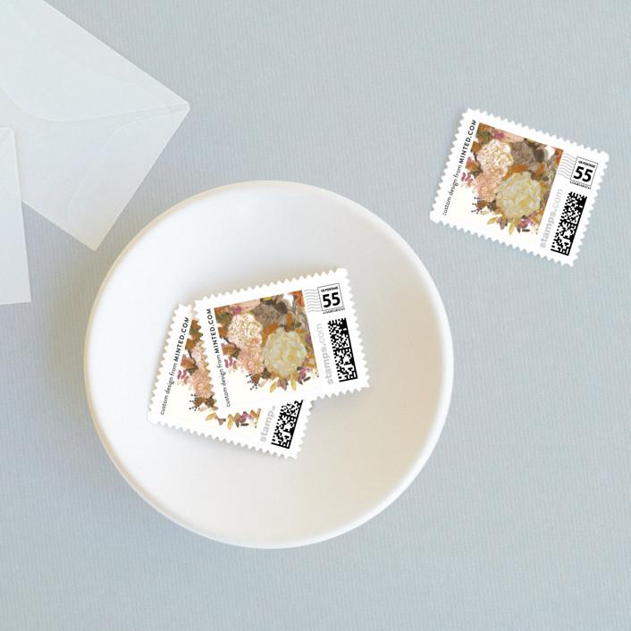 """Floral Feast"" - Wedding Stamps in Gold Leaf by Phrosne Ras."