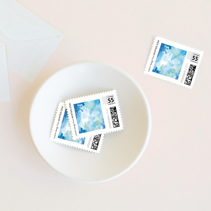 """""""Gallery Abstract Art"""" - Bohemian Wedding Stamps in Ocean by Alethea and Ruth."""