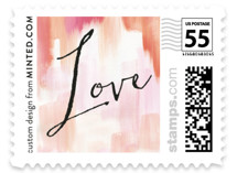 This is a pink wedding stamp by Melanie Severin called Gallery Love with standard printing on adhesive postage paper in stamp.