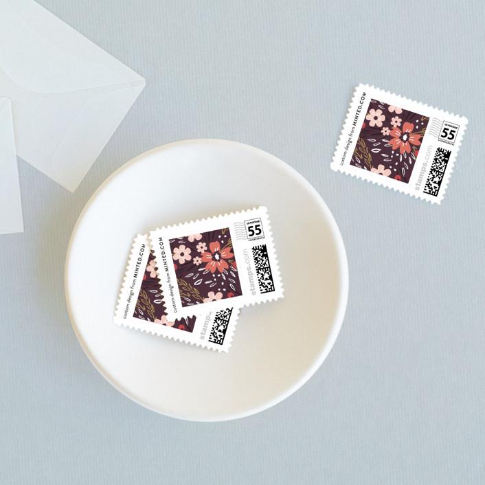 """Grand Fleur"" - Wedding Stamps in Merlot by Kristie Kern."