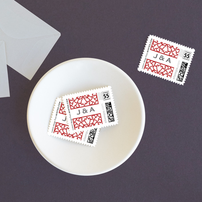 """""""Double Happiness Screen"""" - Modern Wedding Stamps in Carmine by Phoebe Wong-Oliveros."""