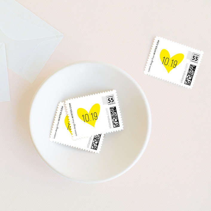 """Bistro"" - Bold typographic, Modern Wedding Stamps in Lemon by chocomocacino."