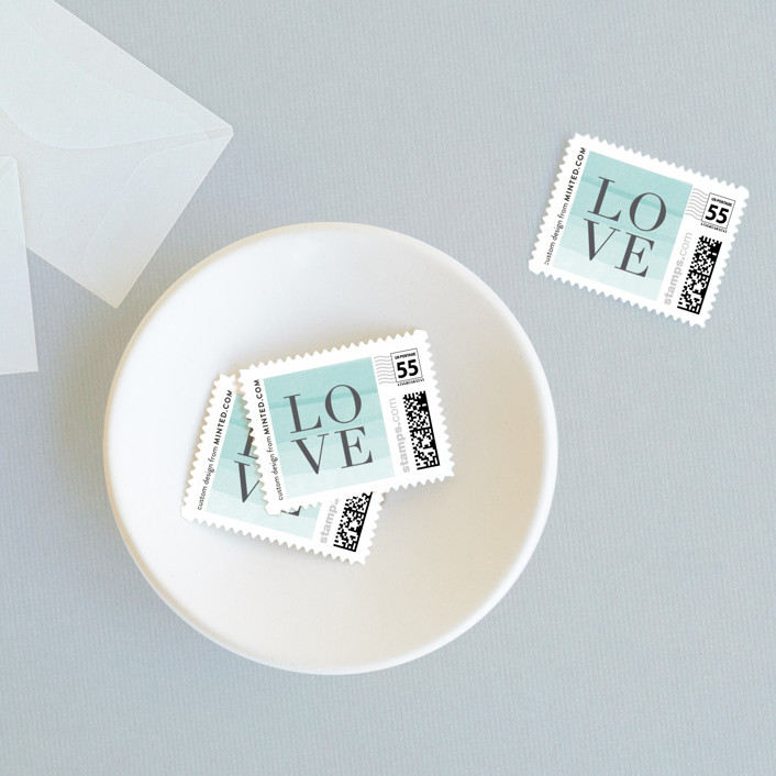 """Old Post Road"" - Wedding Stamps in Sea Salt by Jennifer Wick."