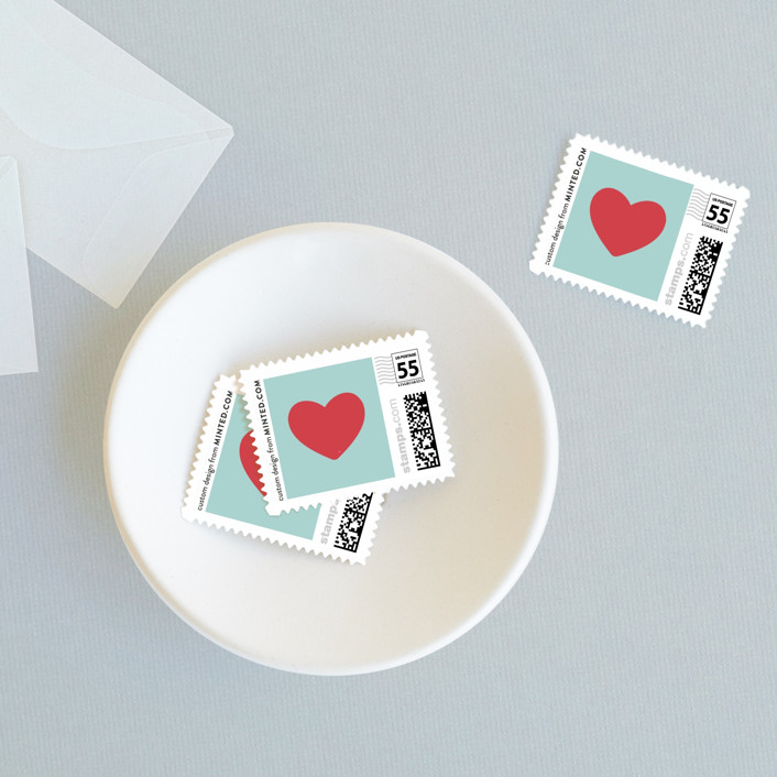 """""""Only Fish for Me"""" - Whimsical & Funny Wedding Stamps in Tropical Sea by Ling Wang."""